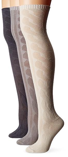 d0154d6952c Muk Luks Women s 3 Pair Pack Cabel Knit Over The Knee Socks