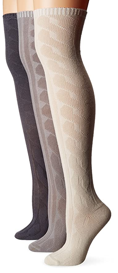 1920s Style Stockings & Socks Muk Luks Womens 3 Pair Pack Cabel Knit Over the Knee Socks $15.50 AT vintagedancer.com
