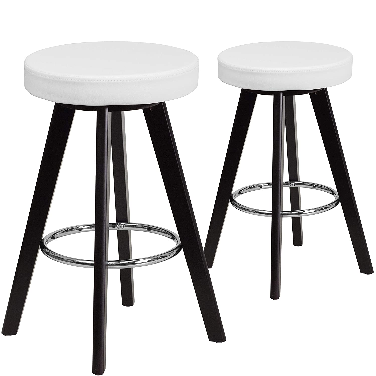 Trenton Series 24 High Contemporary Cappuccino Wood Counter Height Stool with White Vinyl Seat 2-CH-152600-WH-VY-GG Flash Furniture 2 Pk