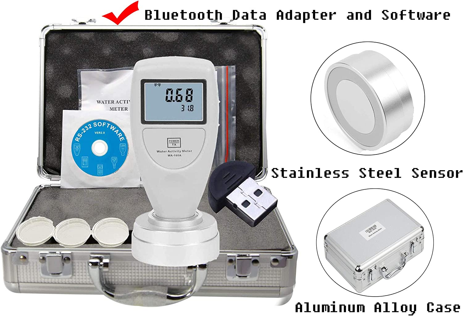 HFBTE WA-160A Food Water Activity Meter Monitor Tester with Bluetooth Data Adapter and Software Receive Signals Within 10 Meters