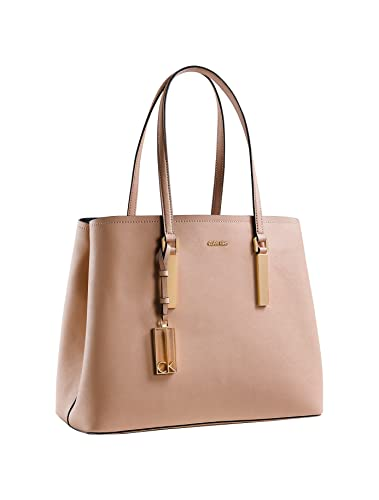 0f38d130c96 Calvin Klein Womens Galey Saffiano Leather Metro Carryall Shoulder Bag  (Natural)
