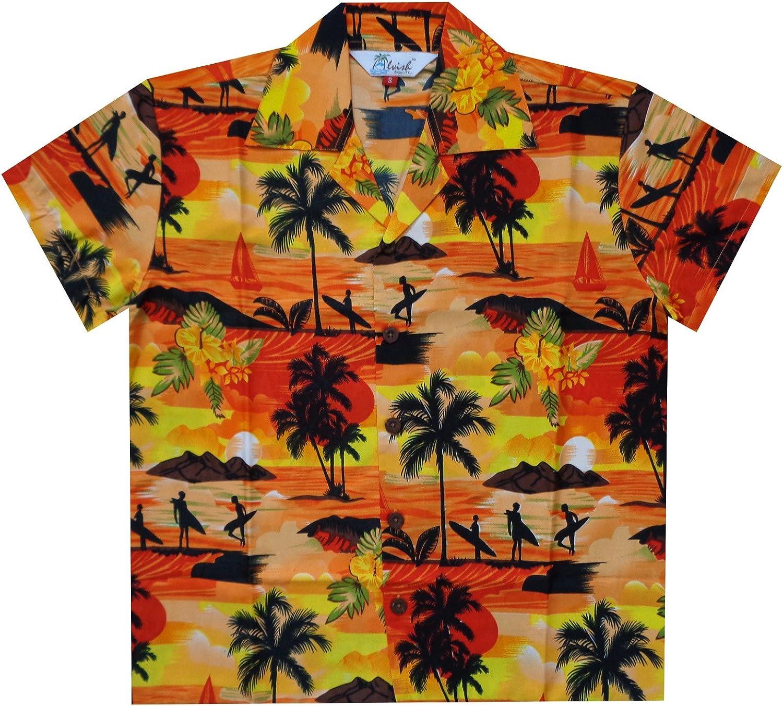 Hawaiian Shirts Boys Allover Print Beach Aloha Party Camp Short Sleeve Holiday