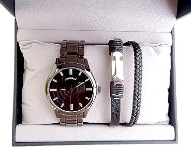 Nouveau Coffret Box IDÉE Cadeau Homme Argent Montre + Bracelet Ancre ZQ-02