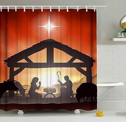 ShineSnow Traditional Winter Christmas Nativity Birth Born Scene Story Shower Curtain Set 60 X 72 Inches