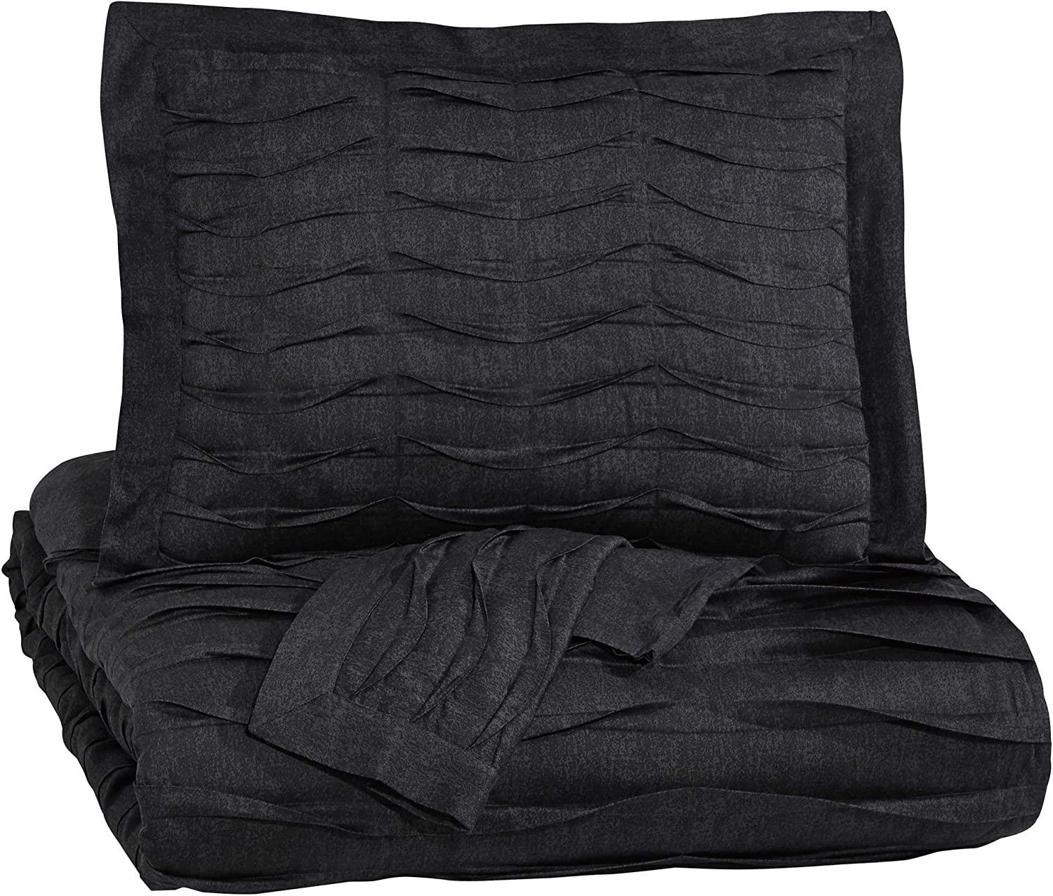 Ashley Furniture Signature Design - Voltos Comforter Set - Includes Duvet Cover & 2 Shams - King Size - Charcoal