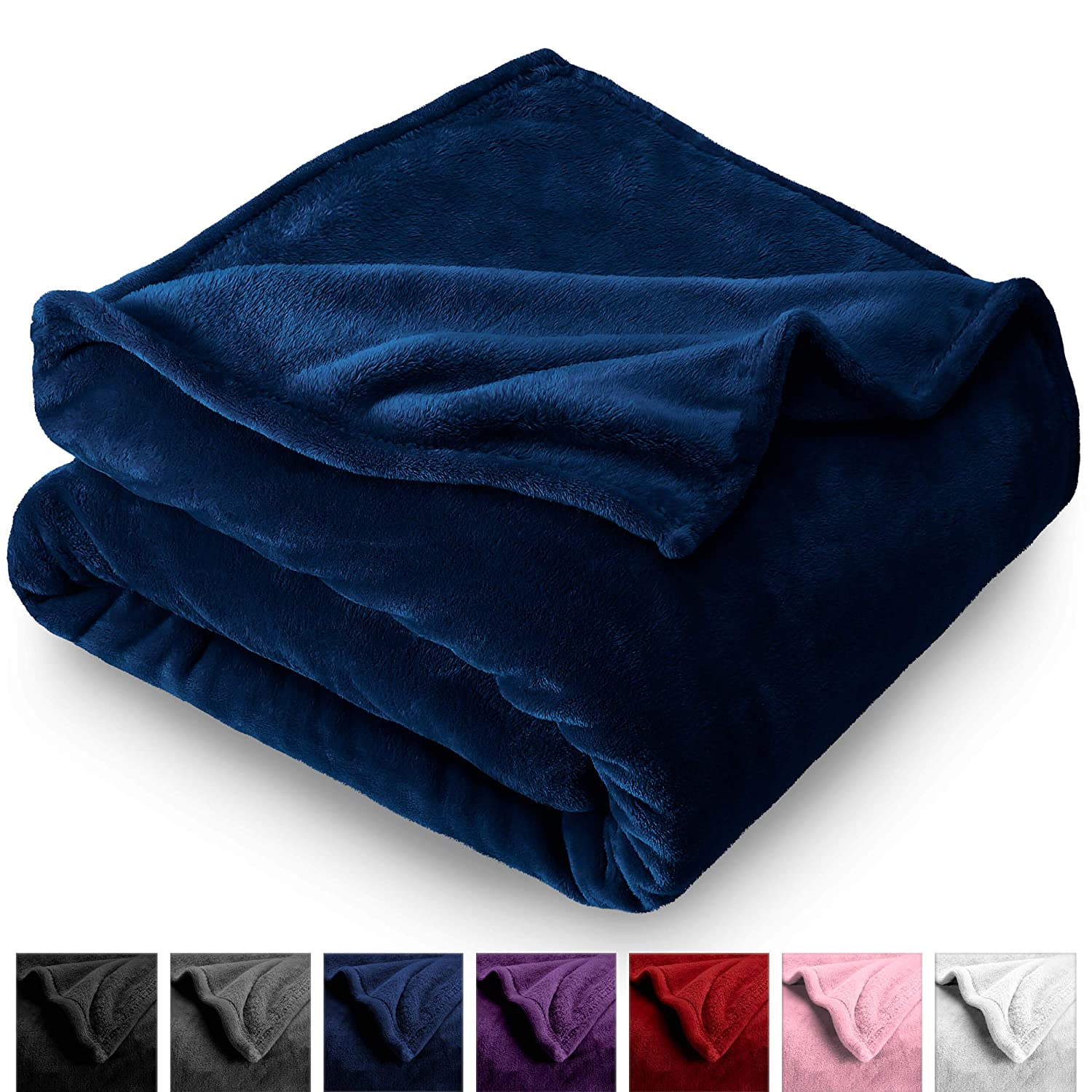 Bare Home Microplush Fleece Blanket - Full/Queen - Ultra-Soft Velvet - Luxurious Fuzzy Fleece Fur - Cozy Lightweight - Easy Care - All Season Premium Bed Blanket (Full/Queen, Dark Blue)