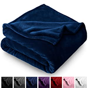 Bare Home Microplush Velvet Fleece Blanket - Twin/Twin Extra Long - Ultra-Soft - Luxurious Fuzzy Fleece Fur - Cozy Lightweight - Easy Care - All Season Premium Bed Blanket (Twin/Twin XL, Dark Blue)