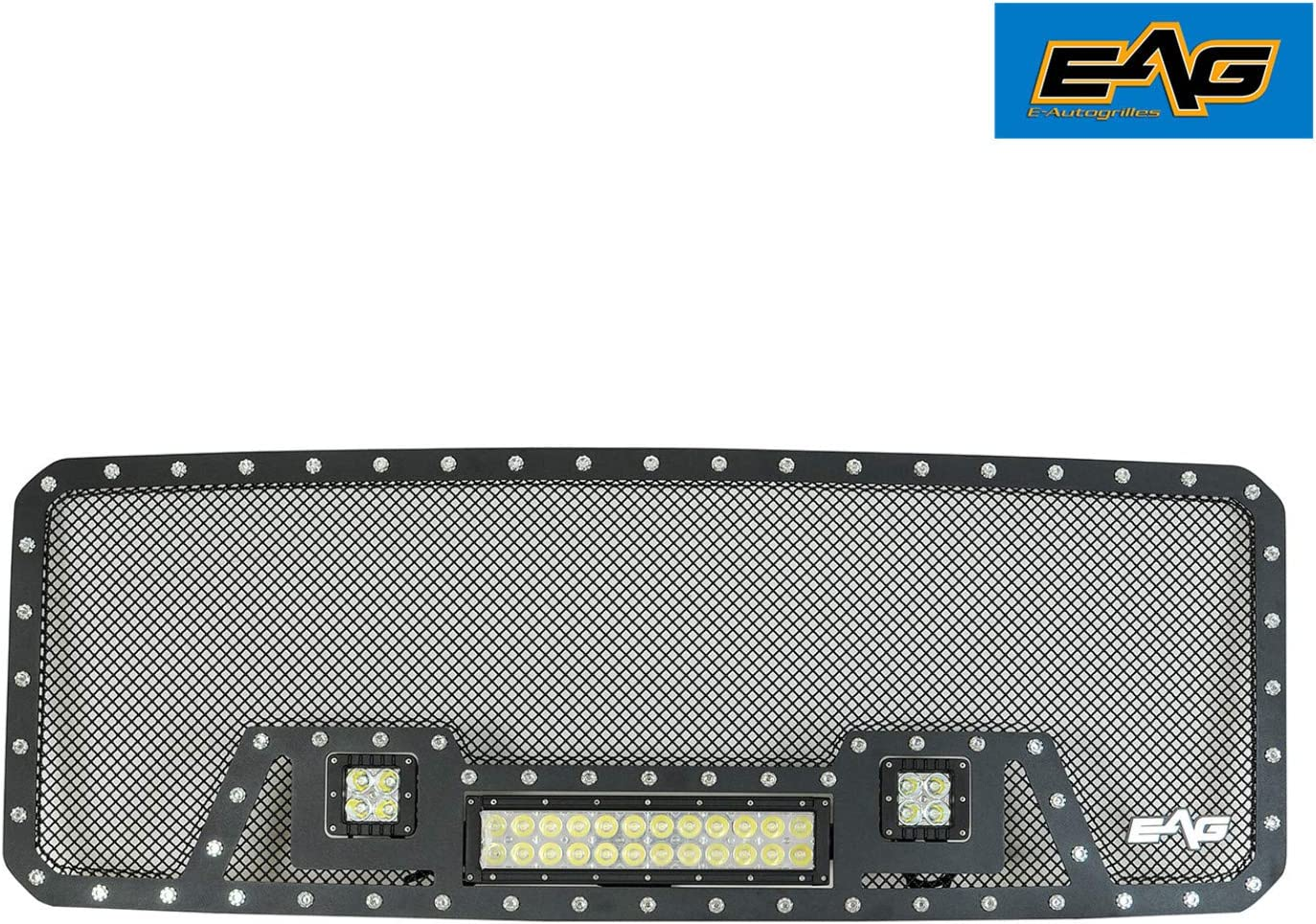 EAG Cutout Rivet Black Stainless Steel Wire Mesh Grille with 3 LED Lights Fit for 11-16 Ford Super Duty F-250//F-350 1PC