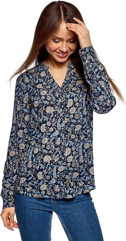 oodji Collection Mujer Blusa Recta de Viscosa, Azul, ES 36 / XS: Amazon.es: Ropa y accesorios