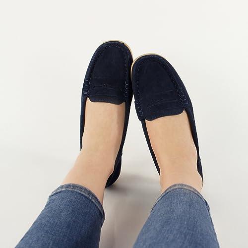 Shumo - Mocasines de Piel para mujer azul azul marino: Amazon.es: Zapatos y complementos