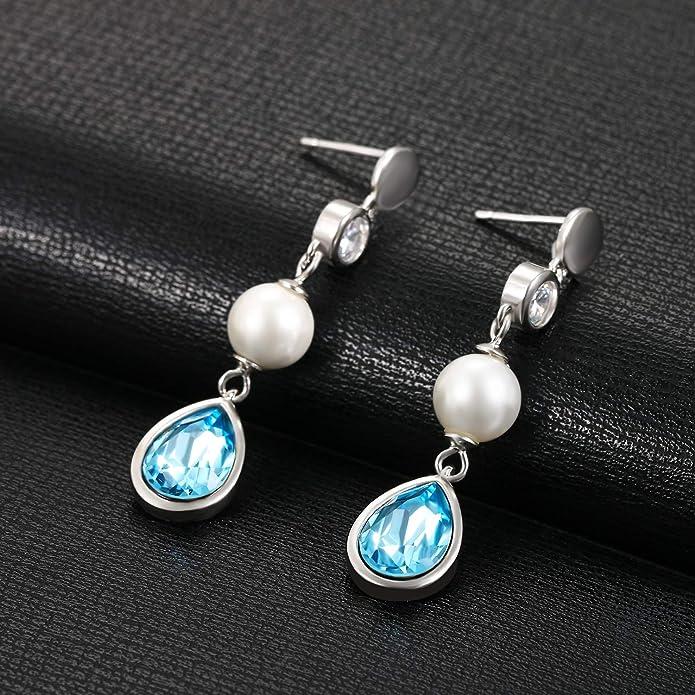 d5f9e991b5ba Aroncent 2PCS Pendientes de Swarovski Cristal Azul Aretes Largos de 925  Plata de Ley Esterlina Perla Circonita Brillante Joyería Moda Elegante  Regalo ...