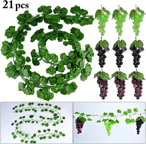 Uvas Artificiales con Hojas, 12 Cuerdas de vid Falsa con Uvas de Plástico para Bodas Decoración deJardín: Amazon.es: Jardín