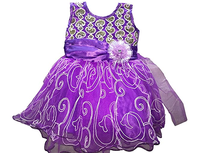 72abcd918d14 Classic Purple Colour Bhoomi Cute Baby Net Frocks for Baby Girls (6 ...