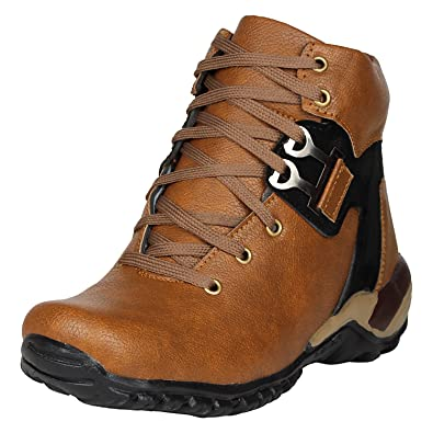 Kraasa Men s Brown Black Synthetic Boots UK 6  Buy Online at Low Prices in  India - Amazon.in b803f13fc