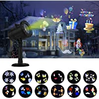 Kuizoou Christmas Waterproof Spotlight LED Lights Projector w/ 12 Switchable Patterns