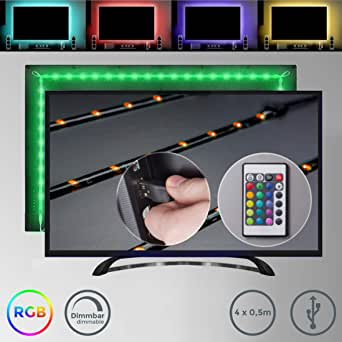 2m TV Tira LED USB con cubierta de silicona I RGB Flexibles ...