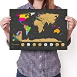 "Travel Size Scratchable World Map - 7 Wonders Edition - Personalised Travel Tracker Poster - Remember and Share Your Adventures (Black | 11.7"" x 16.5"")"