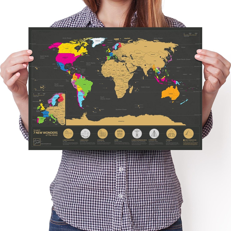 Souvenez et partagez vos aventures Carte du monde de 7 merveilles /à gratter Poster personnalis/é de suivi de voyage Noir | 29.7 x 42 cm A3 /Édition de voyage