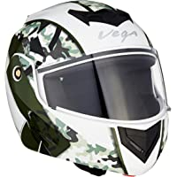 Vega Crux DX Camouflage Flip-Up Helmet (White and Battle Green, Large)