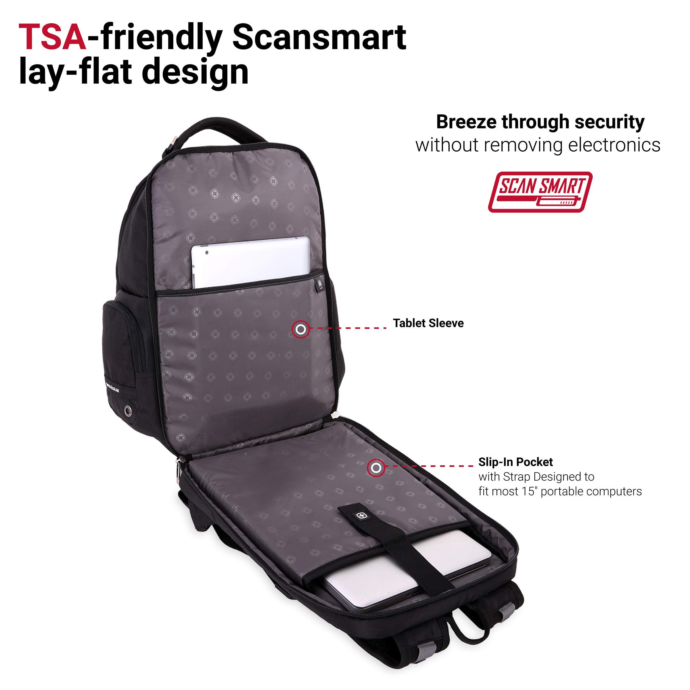 SWISSGEAR Large ScanSmart 15-inch Laptop Backpack   TSA-Friendly Carry-on   Travel, Work, School   Men's and Women's - Black by SwissGear (Image #5)