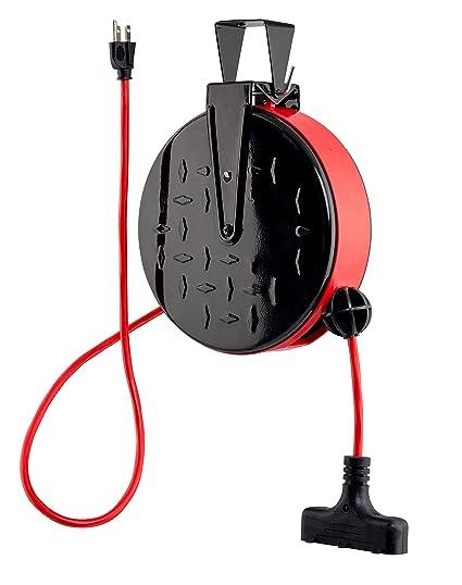 Retractable Extension Cord Reel >> Copperpeak 30 Ft Retractable Extension Cord Reel Ceiling Or Wall Mount 16 Gauge Red And Black