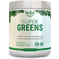 Super Greens | Best Green Veggie Superfood Powder | 30 Servings | 20 Whole Foods (Wheat Grass, Spirulina, Chlorella, Kale, Barley), Probiotics, Fiber, Enzymes | GMO, Soy, Gluten-Free Juice Supplement