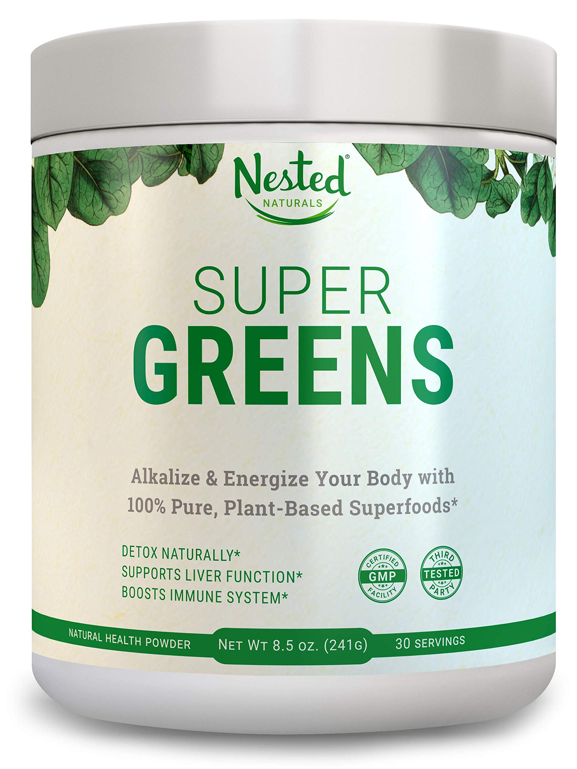 Super Greens | Best Green Veggie Superfood Powder | 30 Servings | 20 Whole Foods (Wheat Grass, Spirulina, Chlorella, Kale, Barley), Probiotics, Fiber, Enzymes | GMO, Soy, Gluten-Free Juice Supplement