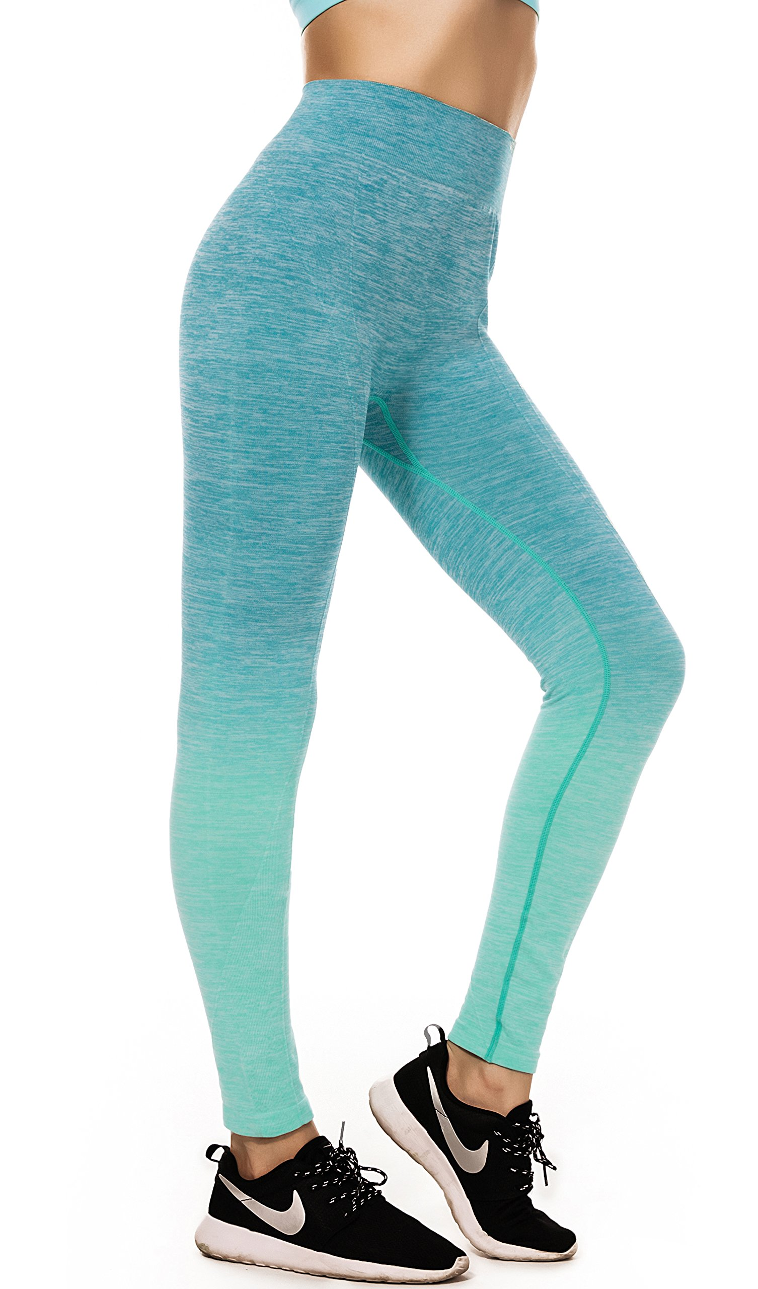 RUNNING GIRL Performance Women's Ombre Yoga Pants Active Leggings Stretch Space Dye Workout Tights(Green Small/Medium=US 4-8)