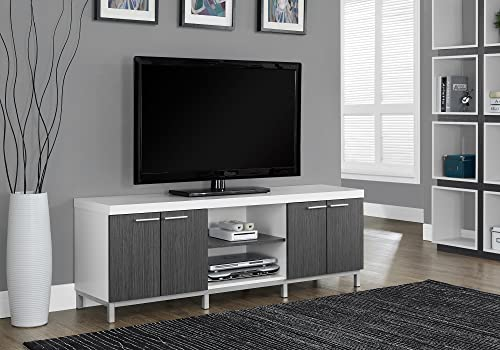 Monarch Specialties Two Tone TV Stand for TVs Up to 60 , Gray White
