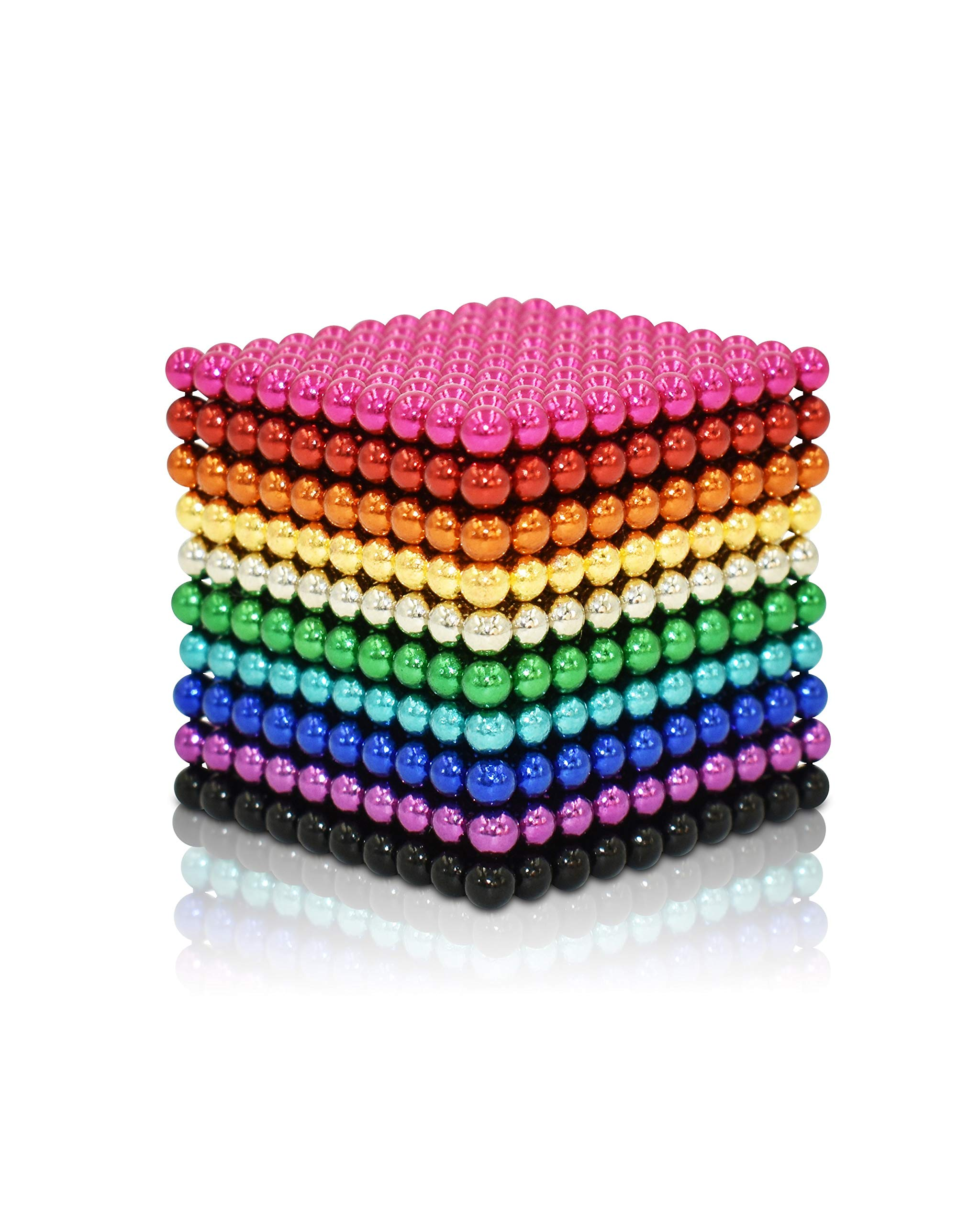MagneBalls 3mm 1010 PCS Magnetic Ball Set- Magnet Fidget Building Beads Desk Toy Perfect for Education, Intelligence Development Games and Stress Relief (10 Colors) by MagneBalls