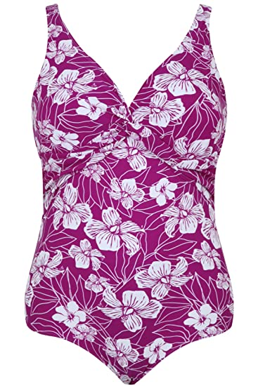 c923d276fce9f Yours Clothing Women s Plus Size Floral Print Twist Swimsuit with Tummy  Control Size 16 Purple  Amazon.co.uk  Clothing