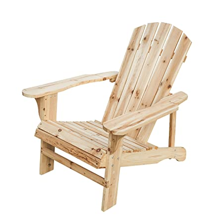 Patio Festival Wood Adirondack Lounger Chair,Outdoor Fir Unpainted Wooden Chairs,Accent Furniture for Yard,Patio,Garden,Lawn w Natural Finish Adirondack Chair