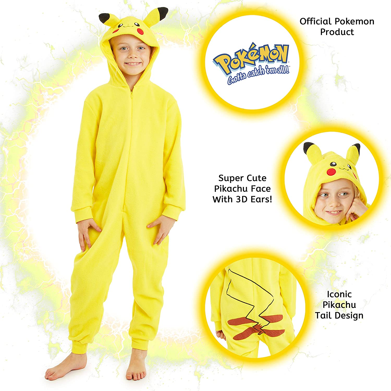 Pokemon Little//Big Boys Pikachu Plush Robe Size 6 8 10 12 $42
