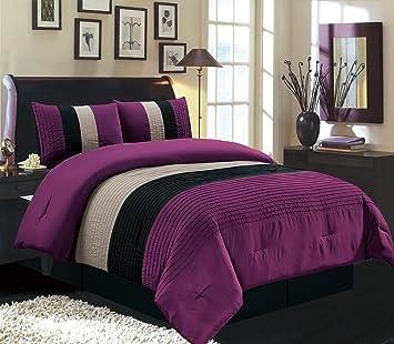 Grand Linen 4 Piece King Size Dark Purple/Black/White Pin Tuck Stripe  Regatta Goose Down Alternative Comforter Set 104\