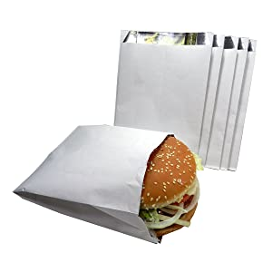 Regency Wraps RW105 White with Foil Lining to Retain Heat Hamburger Bags, 100 count
