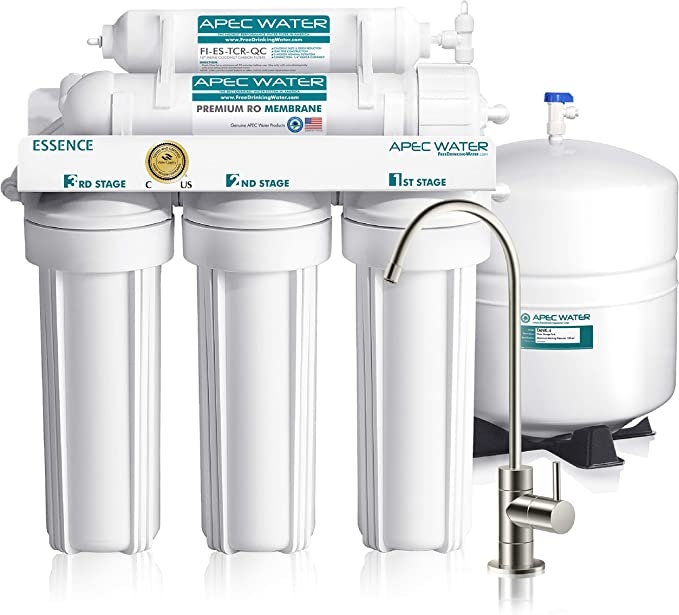 Apec Water Systems Roes 50 Essence Series Top Tier 5 Stage Certified Ultra Safe Reverse Osmosis Drinking Water Filter System Amazon Com