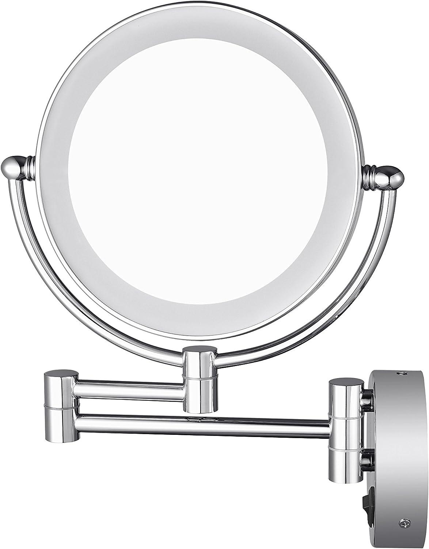 aechoo cuarto de baño espejo de afeitar espejo Make Up pared montado en LED de luz espejo 10x Lupa oculta instalar Fácil y Luxus Decorar para Hotel Vanity 2giratorio cepillado con acabado cromado