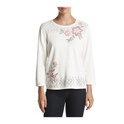 Alfred Dunner Petites' Floral Asymmetrical Sweater