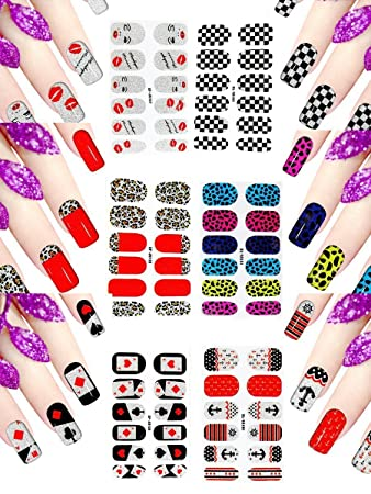6 Sheets Nail Art Stickers Decals 3d Self-adhesive Nail Polish Stickers  Wraps Tips Manicure