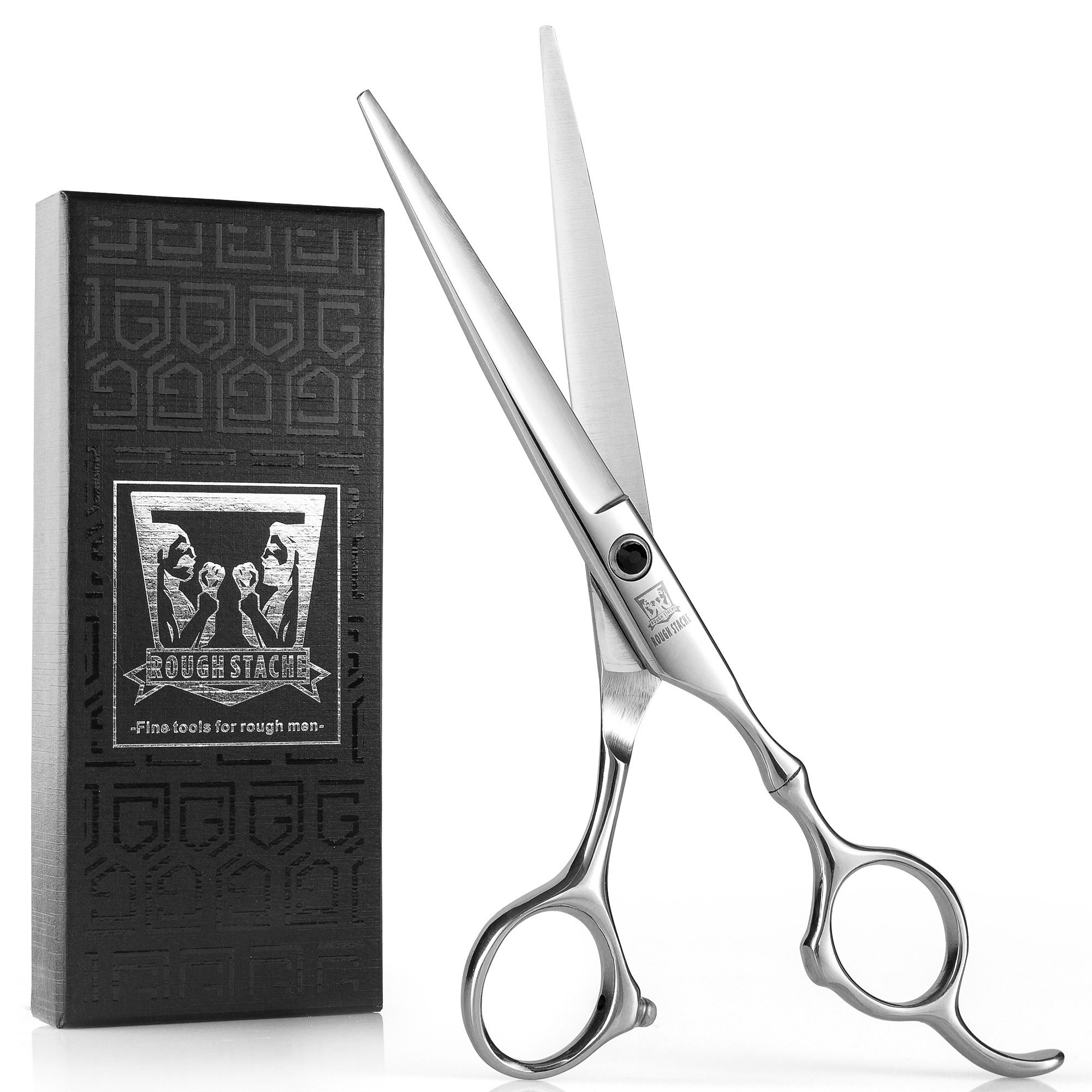 Professional Hair Scissors, Barber Hair Cutting Scissors, 6.5-inch Razor Edge Hair Cutting Shears for Salon, Made from Stainless Steel with Fine Adjustment Screw by Rough Stache