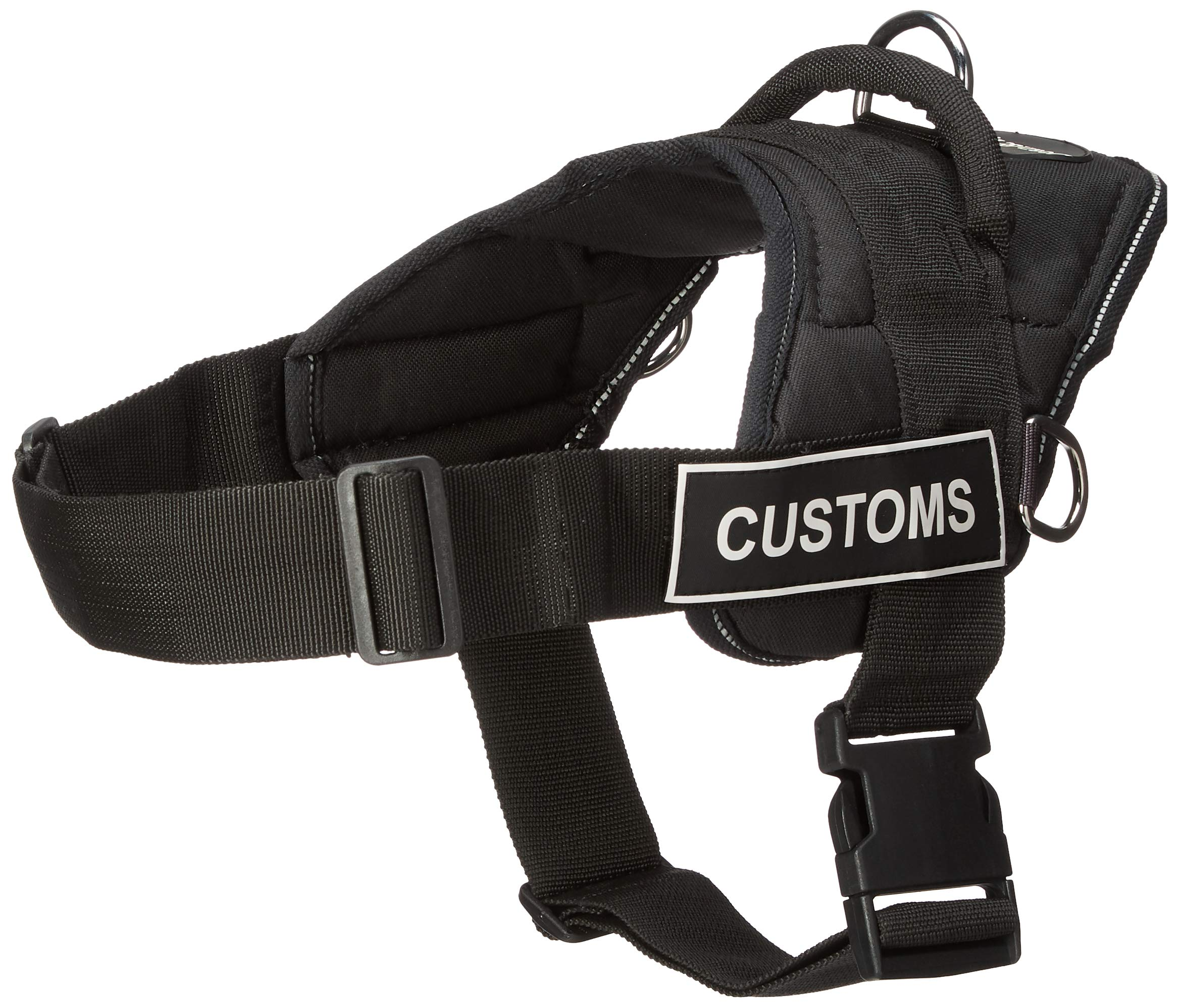 DT Fun Works Harness, Customs, Black With Reflective Trim, Medium - Fits Girth Size: 28-Inch to 34-Inch