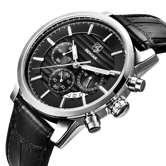 Reloj de pulsera para hombre, para negocios, mecanismo de cuarzo, con cronógrafo, de piel negra: Amazon.es: Relojes