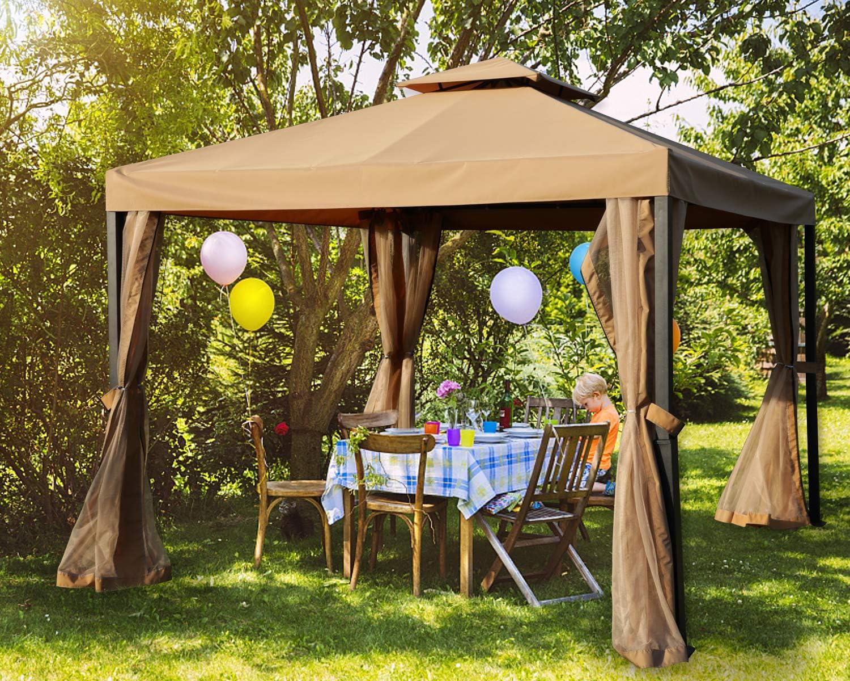 Amazon Com Mastercanopy Outdoor Patio Gazebo Waterproof Soft Top Steel Garden Gazebo Tent Lawn Backyard And Deck 10x10ft Beige Garden Outdoor