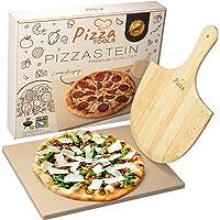 Pizza Tools Pizzastein - Hochwertiger Cordierit Backstein für Grill, Backofen und Gasgrill inkl. Pizzaschaufel | Auch für Flammkuchen und Brot | Eckig 1,5 cm | Knusprige Steinofen Pizza
