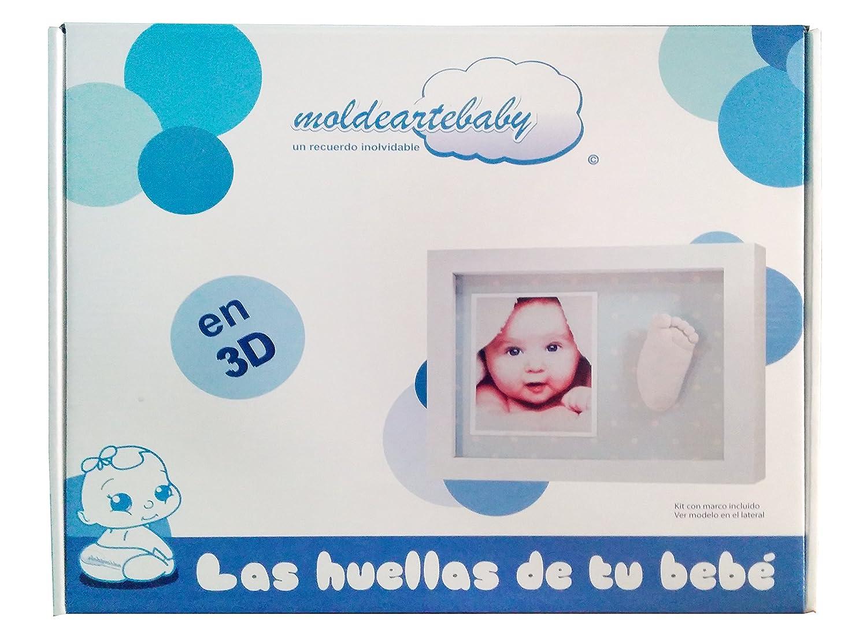 Marco con material Huellas Del Bebe en 3D Pie o Mano - Fondo Rayas Rosa -Made in Spain: Amazon.es: Bebé