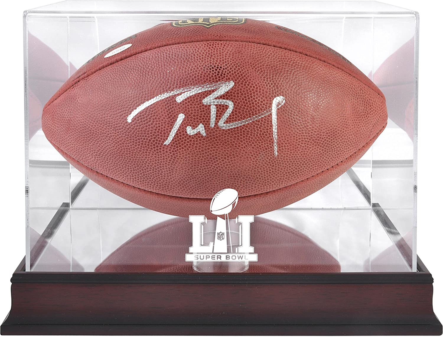 Tom Brady New England Patriots Autographed Duke Football with Mahogany Base Super Bowl LI Football Display Case - TRISTAR - Fanatics Authentic Certified