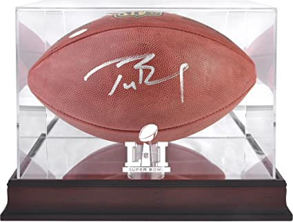 8a059c2e2 Tom Brady New England Patriots Autographed Duke Football with Mahogany Base Super  Bowl LI Football Display