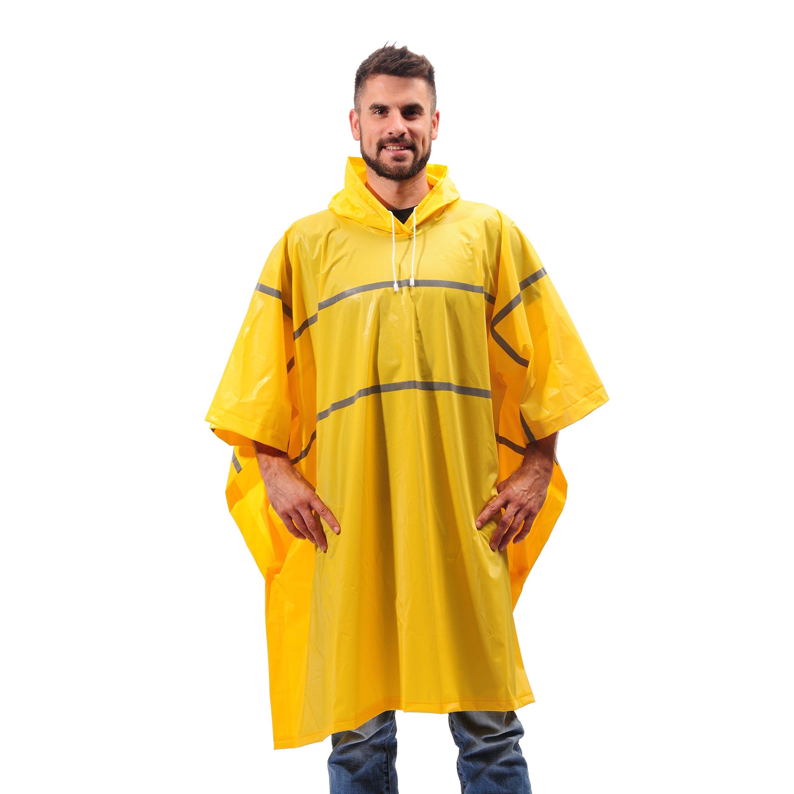 Galeton 12335-YW 12335 Repel Rainwear 0.20 mm PVC Rain Poncho with Reflective Stripes, Yellow, One Size