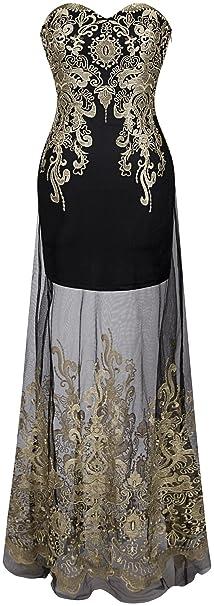 Vestido transparente floral con bordado. Ideal para eventos nocturnos.Opción de colores.