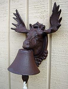 NEW cast iron rustic MOOSE ELK w ANTLERS dinner BELL bar cabin or lodge decor item